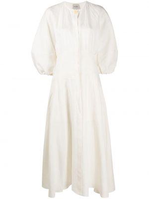 С рукавами белое платье с вырезом круглое Le Kasha