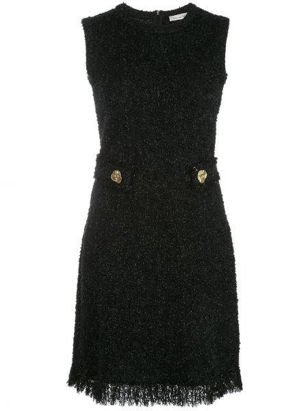 Черное платье мини с вырезом без рукавов Oscar De La Renta