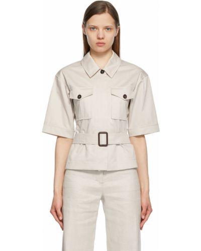 Beżowa koszula bawełniana krótki rękaw S Max Mara