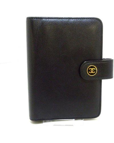Czarny portfel skórzany Chanel Vintage