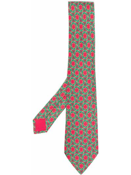 Krawat z printem - żółty Hermes