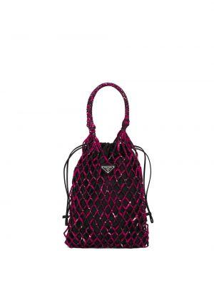 Skórzana torebka na ramię z siatką Prada