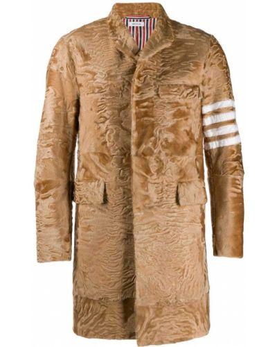 Коричневое кожаное пальто классическое на пуговицах Thom Browne