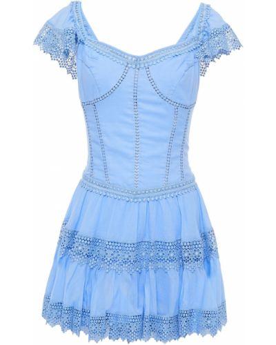 Хлопковое кружевное синее платье мини Charo Ruiz Ibiza