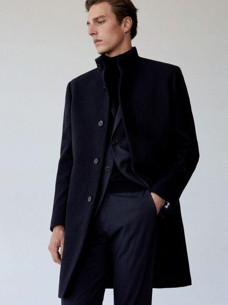 Синее шерстяное пальто с воротником Mango Man