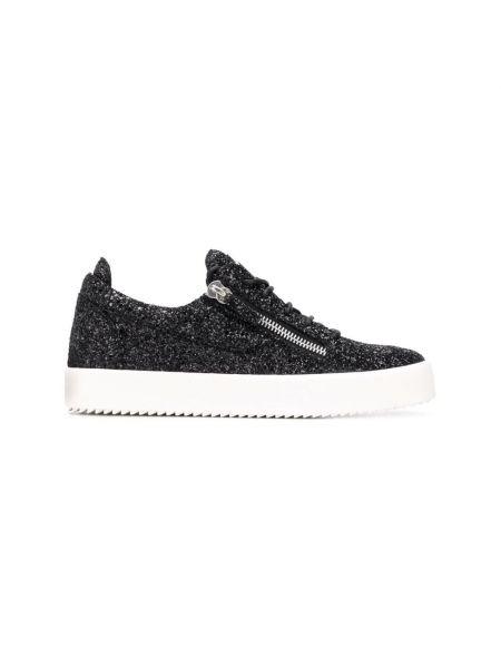 Czarne sneakersy płaska podeszwa miejskie Giuseppe Zanotti