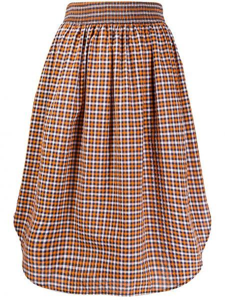Оранжевая расклешенная юбка миди в рубчик с поясом Cédric Charlier