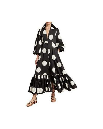 Хлопковое черное вечернее платье Luisa Spagnoli