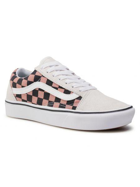 Światło skórzany biały skórzane sneakersy Vans