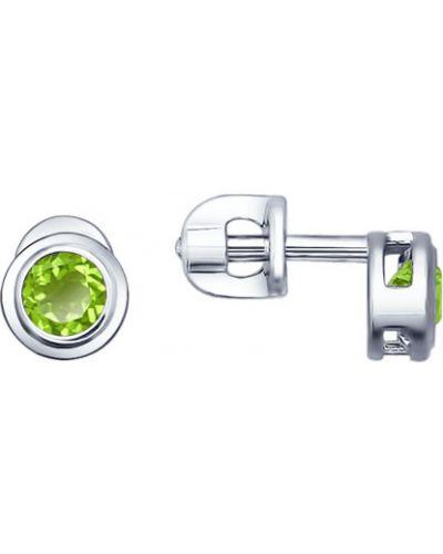 Серьги-гвоздики серебряные Sokolov