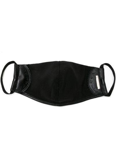 Z paskiem czarny skórzany maska do twarzy na paskach Sarah Chofakian