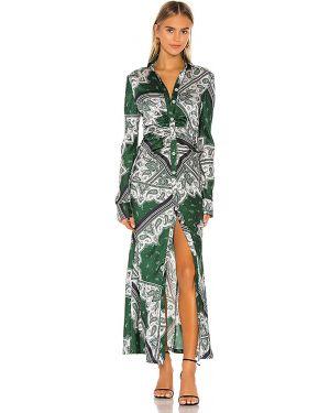Zielona sukienka długa z falbanami Petersyn