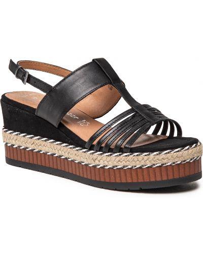 Sandały espadryle - czarne Marco Tozzi
