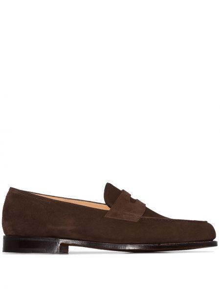 Brązowe loafers skorzane kaskadowe John Lobb