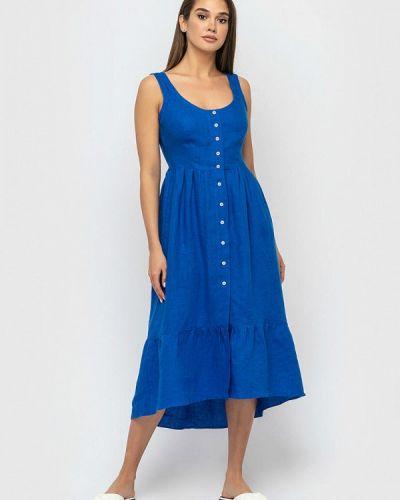 Прямое синее платье Morandi
