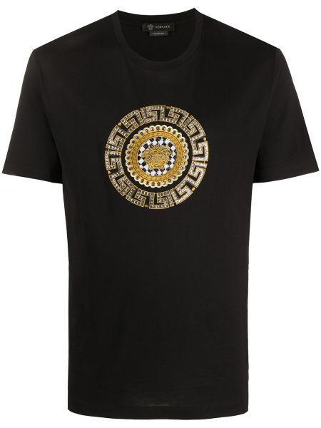 Koszula krótkie z krótkim rękawem z nadrukiem czarna Versace
