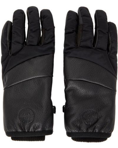 Утепленные нейлоновые черные перчатки Stone Island