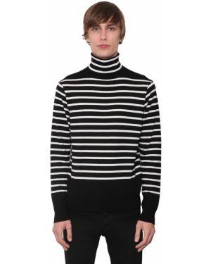 Czarny sweter wełniany w paski Takahiromiyashitathesoloist