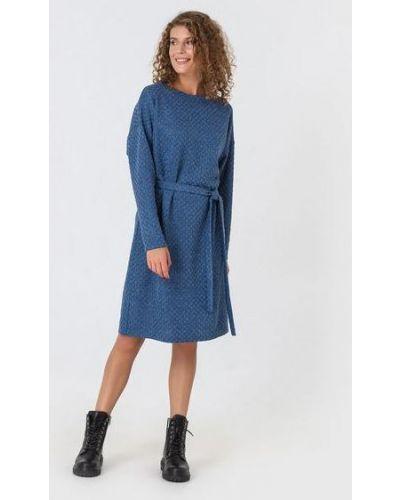Повседневное синее теплое платье из вискозы с поясом Vovk