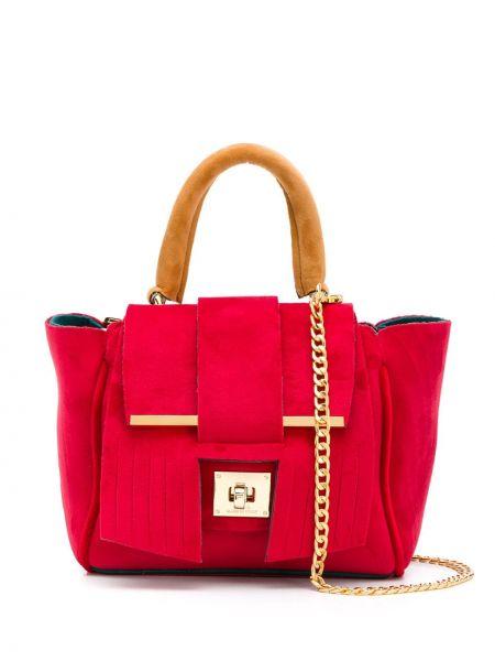 Красная сумка на цепочке с бахромой Alila