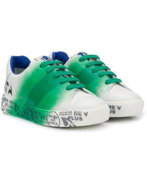 Кожаные зеленые кеды с заплатками на шнурках Premiata Kids