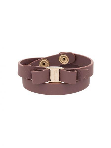 Розовый кожаный браслет с декоративной отделкой Salvatore Ferragamo