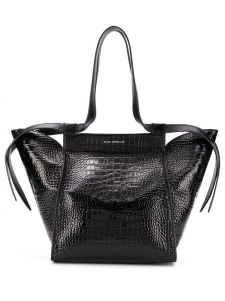 Черная сумка-тоут металлическая с тиснением Elena Ghisellini