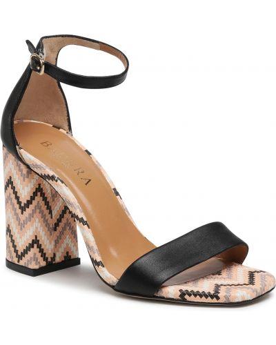 Sandały skórzane eleganckie - czarne Badura