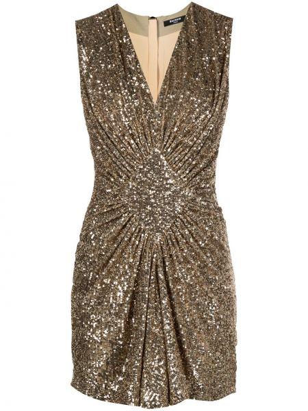 Шелковое платье с пайетками золотое Balmain