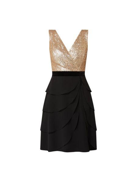 Czarna sukienka koktajlowa rozkloszowana z cekinami Paradi