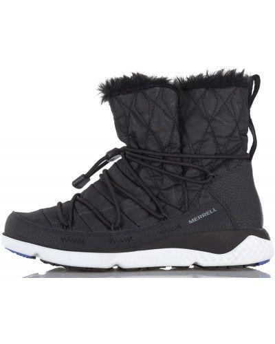 Кожаные сапоги черные на шнуровке Merrell
