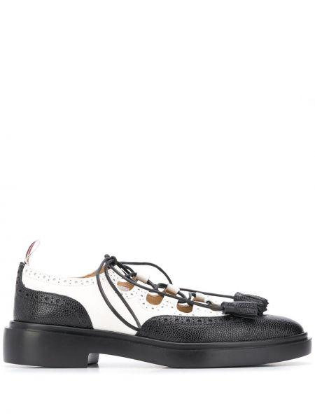 Koronkowa czarny buty brogsy na sznurowadłach z prawdziwej skóry Thom Browne