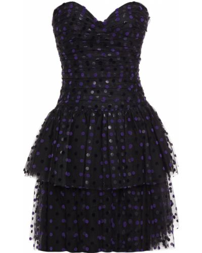 Платье мини из фатина - черное Monique Lhuillier