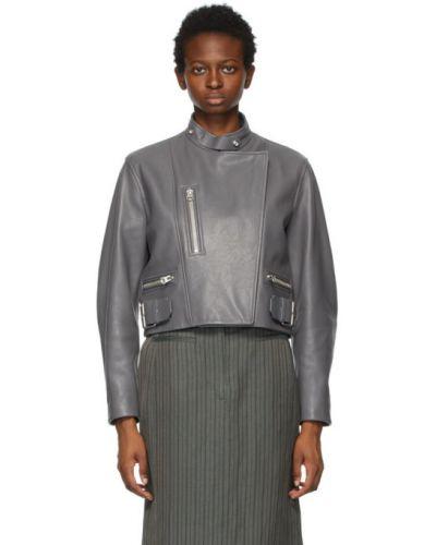 Серебряная кожаная длинная куртка байкерская Acne Studios