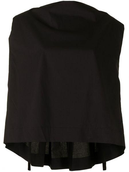 Czarna bluzka bawełniana bez rękawów Pushbutton