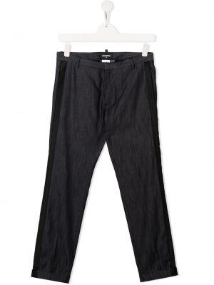 Хлопковые синие прямые брюки Dsquared2 Kids