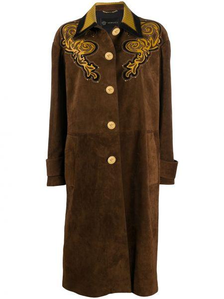Коричневое кожаное пальто классическое с капюшоном Versace