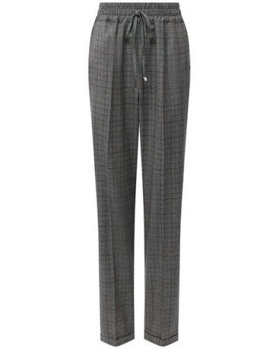 Серые со стрелками брюки с отворотом для офиса Kiton