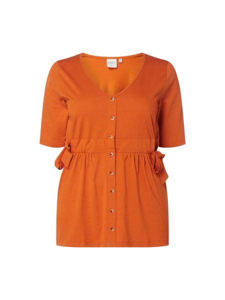 Pomarańczowa bluzka bawełniana z dekoltem w serek Junarose