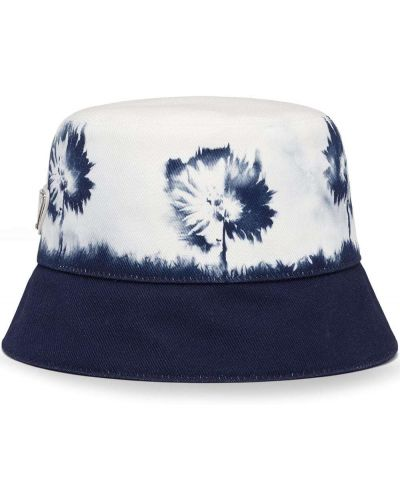 Biały kapelusz bawełniany w kwiaty Prada