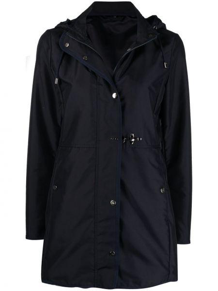 Черное пальто классическое с капюшоном с длинными рукавами Fay