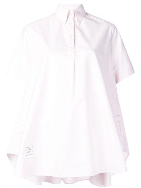 Różowa sukienka mini krótki rękaw bawełniana Thom Browne