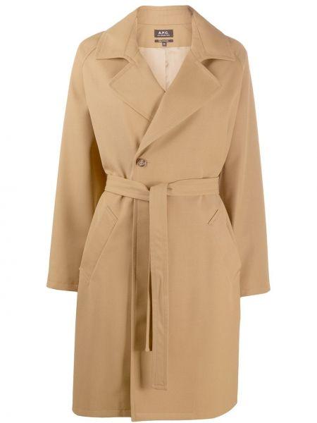 Длинное пальто без воротника с запахом A.p.c.