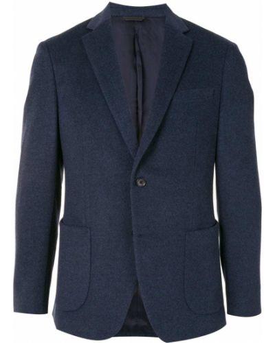 Синий классический классический пиджак на пуговицах с лацканами D'urban
