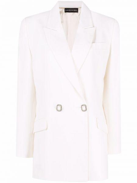 Шерстяной белый удлиненный пиджак двубортный David Koma