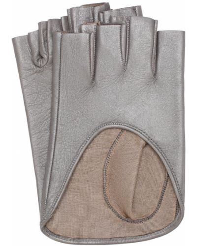 Кожаные перчатки серебряного цвета Sermoneta Gloves