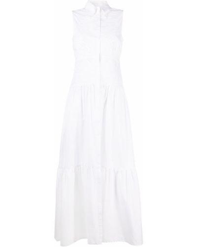 Белое платье-рубашка без рукавов с воротником Ermanno Scervino