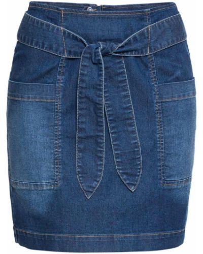Джинсовая юбка с поясом синяя Bonprix