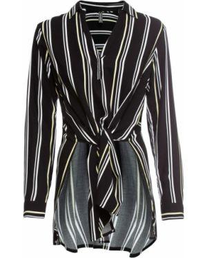 Блузка с длинным рукавом в полоску асимметричная Bonprix