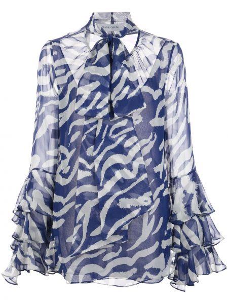 Шелковая блузка - синяя Prabal Gurung